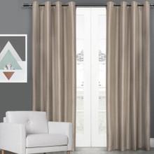 Villa Faux Silk Shantung Look Eyelet Curtain Panels | 4 Sizes