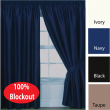 VILLA  Blockout Pencil Pleat Curtains Textured Shantung Avail 4 sizes NAVY BLUE