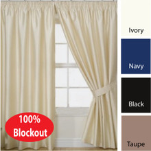 VILLA  Blockout Pencil Pleat Curtains Textured Shantung Avail 4 sizes IVORY