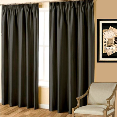 Villa Blockout Pencil Pleat Curtains Textured Shantung