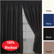 VILLA  Blockout Pencil Pleat Curtains Textured Shantung Avail 4 sizes BLACK