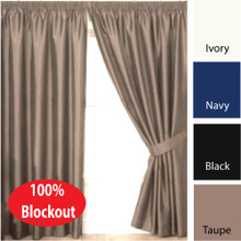 VILLA  Blockout Pencil Pleat Curtains Textured Shantung Avail 4 sizes TAUPE