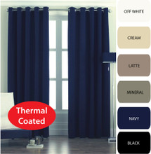CANTINA Thermal Eyelet Curtains Modern Leaf Jacquard Avail in 3 Sizes  NAVY BLUE