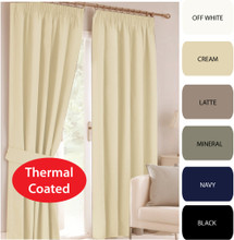 CANTINA Thermal Pencil Pleat Curtains Modern Leaf Jacquard Avail in 4 Sizes CREAM