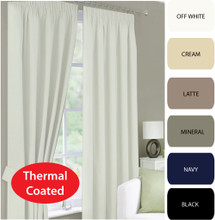 CANTINA Thermal Pencil Pleat Curtains Modern Leaf Jacquard Avail in 4 Sizes WHITE