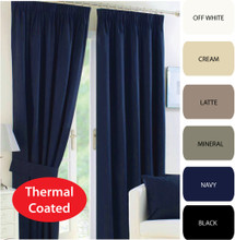 CANTINA Thermal Pencil Pleat Curtains Modern Leaf Jacquard Avail in 4 Sizes NAVY BLUE