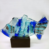 Legacy Handmade Glass Arts - Embeded Natural Colors - Antique  Decor - 004f