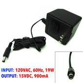 LZR AC Adapter 120VAC, 60Hz, 19W, 15VDC, 900mA, 481509003CO, PN AD1590-CB