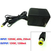 AC Adapter 120VAC, 60Hz, 250mA, 12VDC, 1200mA, 12V 1.2A New