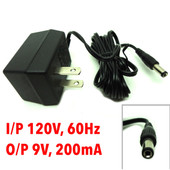 AC Adapter I/P 120V, 60Hz, O/P 9VAC, 200mA, Model LF09200A-08