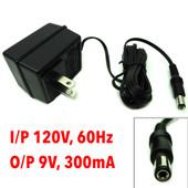 AC Adaptor I/P 120V, 60Hz O/P 9VAC, 300mA, Model PPI-0930-UL