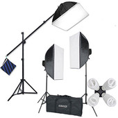 Kaezi Studio FX H9004SB2 2400 Watt Large Photography Softbox Continuous Photo Lighting Kit