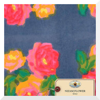 Lisa Corti Canvas Nizam Flower Grey - Fabric (0.25m)