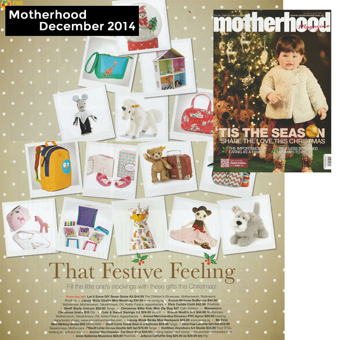PriviKids featured in Motherhood magazine (December 2014)