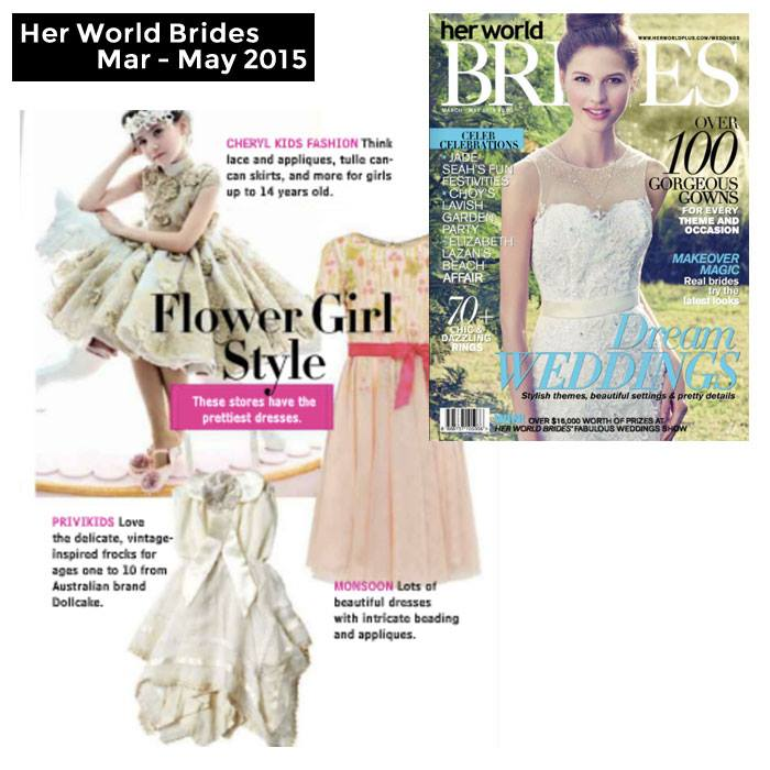 PriviKids featured in Her World Brides magazine (March to May 2015)