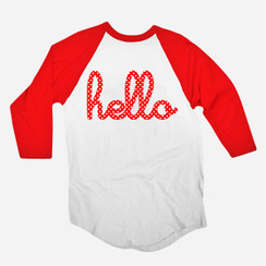 Hello Minnie Red 3/4 Sleeve Raglan Adult