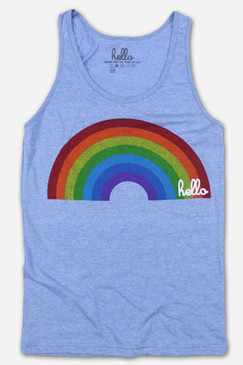 Hello Rainbow Athletic Blue Tri-Blend Tank Top (Adult)