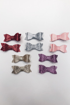 Glitter Bow Hair Clips (2 pieces)