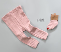 Pink Plain Tights ( 2 piece)
