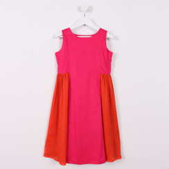 Sleeveless Flared Dress Pink and Orange
