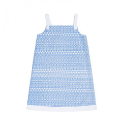 A Line Strap Dress Blue Graphic Lace with White
