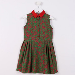 Pleated Shirt Dress Red Leaves
