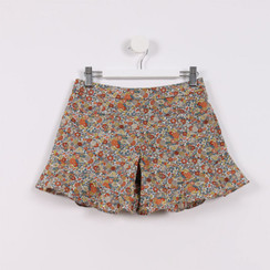 Flared Hem Shorts Orange Floral Print