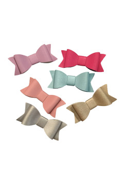 Leather Bow Hair Clips (2 pieces)