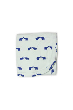 Kate Quinn Blue Elephant Receiving Blanket