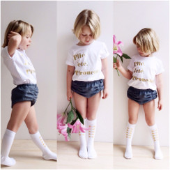 Hubble + Duke Knee High Socks - Mini Bows Gold