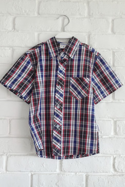 Navy Blue Red Checkered Shirt