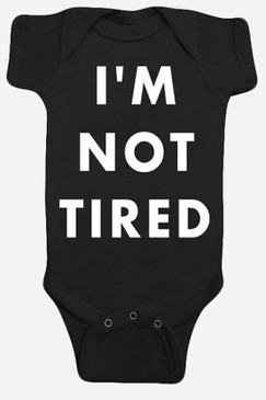 Hello I'm Not Tired Black Baby Romper