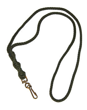 Cord Lanyard: Barley Twist, Olive, Single Clip