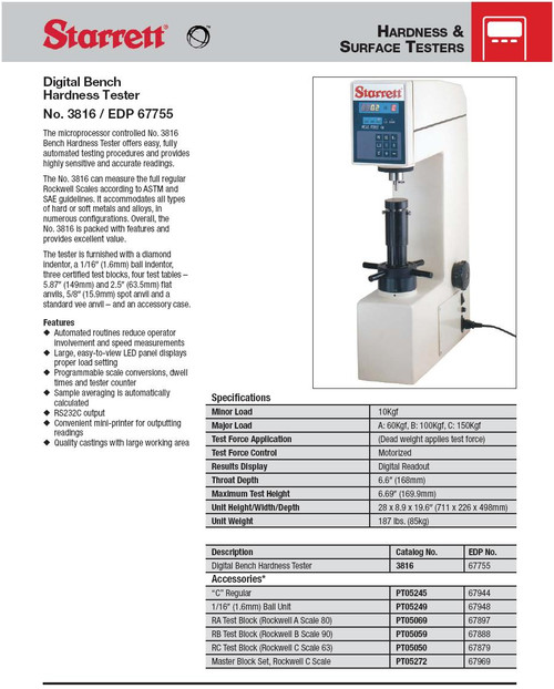 Starrett 3816 Digital Rockwell Hardness Tester Sheet - Brystar Metrology Tools