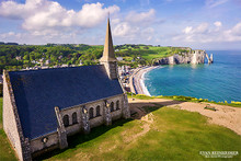 Church on the cliffs of Etretat, France