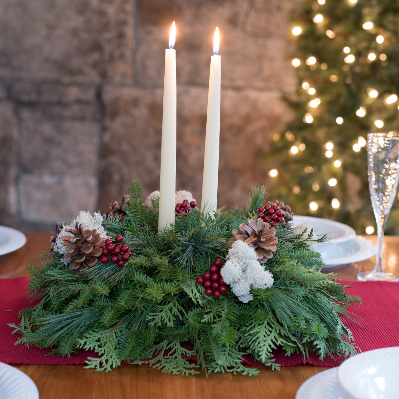 Winterberry Christmas Centerpiece