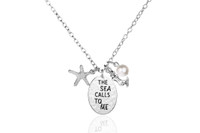 The Sea Calls To Me Mermaid Starfish Pearl Charm Necklace