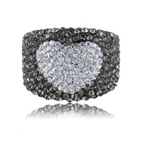Stunning Platinum Plated Austrian Crystals Heart  Engagement Ring