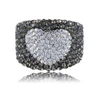 Stunning Platinum Plated Austrian Crystals Heart  Engagement Ring