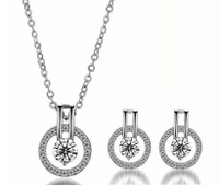 Silver Double Halo Swarovski Elements Necklace and Earrings Set