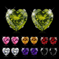 10 Pairs Swarovski Elements Heart Crystal Stud Earrings Set