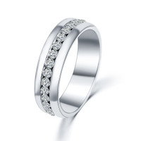 Silver Stainless Steel Crystal Eternity Ring