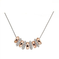 Crystal Beads Two-Tone Necklace