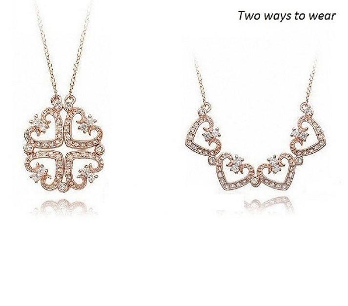 Four hearts goldsilver pendant necklace angelsale image 1 mozeypictures Images