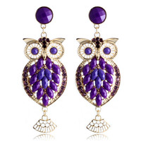 Crystal Owl Drop Earrings