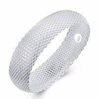 Silver Plated Woven Mesh Bracelet