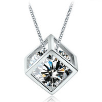 Crystal Ice Cube Cubic Zirconia Pendant Necklace