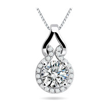 Cubic Zirconia Halo Pendant Necklace