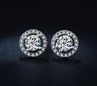 Round Luxury Swiss Crystals Stud Earrings