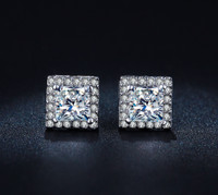 Princess Cut Luxury Swiss Stud Earrings